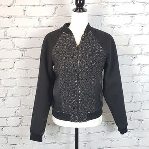 Guess Boucle and Faux Leather Bomber Jacket